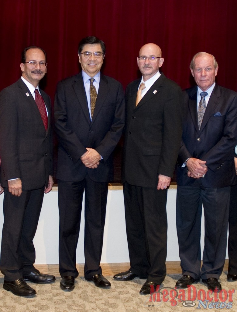 Pictured left to right during León's visit are UTPA Provost and Vice President for Academic Affairs Dr. Havidán Rodríguez; Dr. León; UTPA President Dr. Robert S. Nelsen; and UTB Provost and Vice President of Academic Affairs Dr. Alan F. J. Artibise.