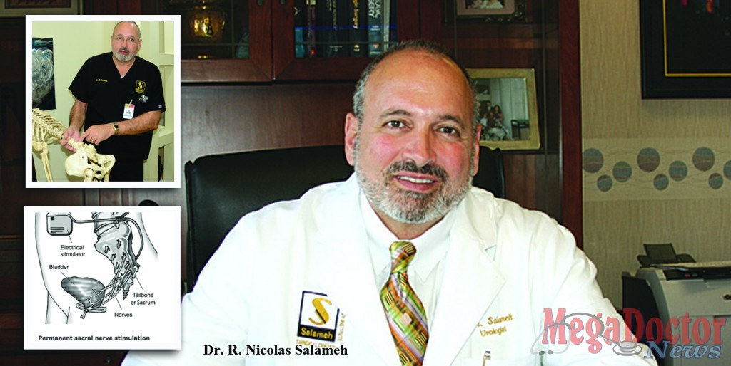 Dr. Salameh explains how the brain communicates with your bladder, and how important it is that this communication continues with no disruption for your bladder to work properly.  If you have been suffering with a dysfunctional bladder and you've tried several treatments for bladder control problems without success, don't lose hope because this implantation and therapy could be the solution to pain and embarrassing moments for you or your loved one. The diagram shows where the device is placed to help your bladder work properly. Photo by Roberto Hugo Gonzalez