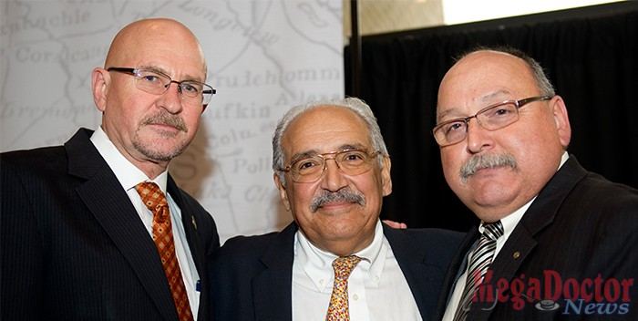 Psychiatrist Francisco Fernandez, MD, (center) who has been selected to assume the historic position of founding dean for The University of Texas Rio Grande Valley's much-anticipated School of Medicine has assumed his position. He posed with outgoing UTPA President Dr. Robert Nelsen (left) and Eduardo Olivarez Chief Administrative Officer for the Hidalgo County Health and Human Services on the right. Photo courtesy UTPA