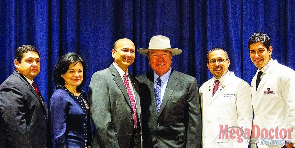 "Pictured L-R: Israel Rocha Jr., Chief Executive Officer, DHR; Linda Resendez, Vice President, Clinical Integration, DHR; Indra K. Reddy, Ph.D., Professor and Founding Dean, Texas A&M Rangel College of Pharmacy; Senator Juan ""Chuy"" Hinojosa; Dr. Ron Ozuna, Pharm.D., BCPS, Clinical Coordinator, Pharmacy, DHR; and Diego Garza, 2014 Pharm. D. Candidate, Texas A&M Rangel College of Pharmacy."