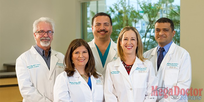 Pictured below: Physicians from Doctors Hospital at Renaissance Bariatric and Metabolic Institute. (left to right) Dr. Robert Alleyn, Bariatric Surgeon; Dr. Belinda Jordan, Bariatrician; Dr. Ambrosio Hernandez, Adolescent Bariatric Surgeon; Dr. Guadalupe Aranguena-Sharpe, Psychiatrist; and Dr. Manish Singh, Advanced Laparoscopic and Bariatric Surgeon, Medical Director of Doctors Hospital at Renaissance Bariatric and Metabolic Institute.