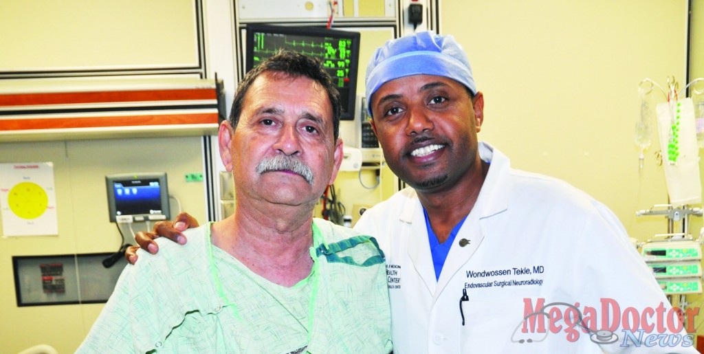 "Surviving A ""Brain Attack"" - Dr. Wondwossen Tekle, right, Endovascular Neurologist at Valley Baptist Medical Center in Harlingen, checks on Alfonso Soto Jr. of Weslaco the day after Mr. Soto survived a ""brain attack"".   Quick action by Mr. Soto's family in calling '911', Weslaco Emergency Medical Services, and the Valley Baptist Stroke Team resulted in a remarkable recovery for the 65-year-old Valley resident following a severe stroke recently."