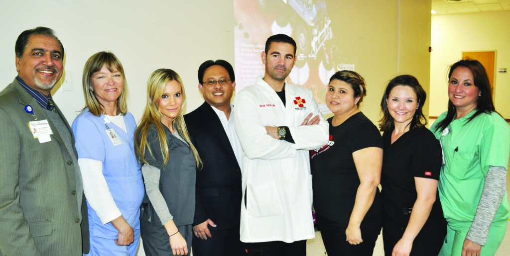 Center w/lab coat: Dr. Rafael Rafols, CWCS; and from Left – Right: Hari Namboodiri, QMRP, LMSW, LNFA, LLB, CEO for Solara Hospital -McAllen & Edinburg; Glenda Adams, RN, KCI Representative; Ana Ortiz, Territory Manager for MiMedx; Lierson G. Nares, RN, BSN, MBA, SSGB, COO; Dr. Rafael Rafols, MD, CWCS; Lorena Ortiz-Hernandez, LVN, WCC, Lead Wound Care Nurse for Cornerstone /Solara-McAllen & Edinburg; Stephanie Guerra, Territory Manager for Santyl; Carla Rodriguez-Kucia, Territory Manager for Kinetic Concepts. CGH Solara Hospital hosted a Wound Care Workshop in February of 2015.  Over 200 healthcare professionals from across the Rio Grande Valley attended the event.  The workshop was a Wound V.A.C. (Vacuumed Assisted Closure) Certification Conference that provided an opportunity to learn and share the latest advances in clinical wound healing.  The event was made possible with the support and assistance of KCI, Santyl, and MiMedx Companies.