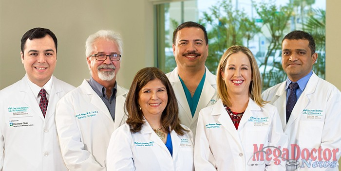 Pictured Above: [left to right] Michael Martinez, M.D.; Robert Alleyn, M.D.; Belinda Jordan, M.D.; Ambrosio Hernandez, M.D.; Guadalupe Aranguena Sharpe, M.D.; Manish Singh, M.D.