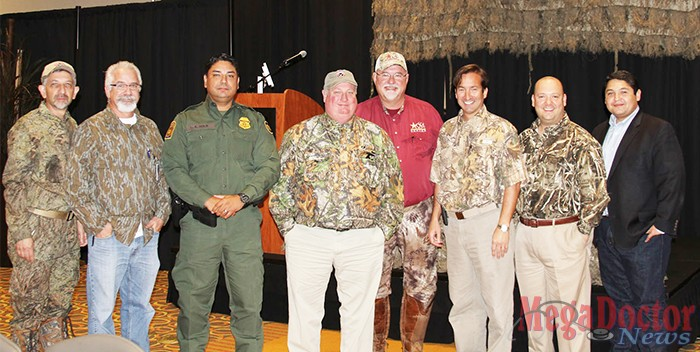 Pictured above: Expert speakers at the inaugural Brush Country Medicine and Survival Conference [from left to right] Dr. Rick Martinez; Dr. Robert Alleyn; Luis Solis, Supervisory Border Patrol Agent, U.S. Border Patrol; Dr. Henry Stroope; Dr. Kip Owen; Dr. Sergio Rodriguez; Dr. Alberto Pena; and Israel Rocha, DHR Chief Executive Officer.