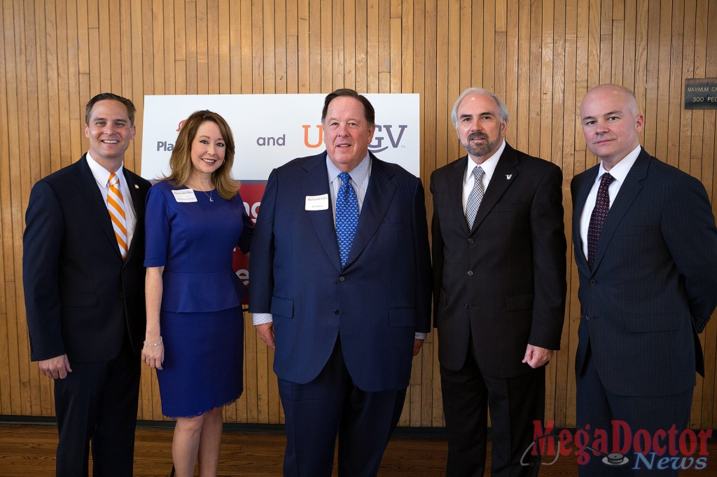 UTRGV on Thursday announced a $1 million gift from PlainsCapital Bank for scholarships. University and community leaders, along with a large contingent of PlainsCapital representatives, gathered at the newly named Plains Capital Bank Theater in the Student Union for the announcement. Shown from left are PlainsCapital Bank Market President Michael Williamson; UTRGV Vice President for Advancement Dr. Kelly Cronin; PlainsCapital Bank Chairman Alan White; UTRGV President Guy Bailey; and PlainsCapital Bank Brownsville Market President Raul Villanueva. (UTRGV photo by Paul Chouy)