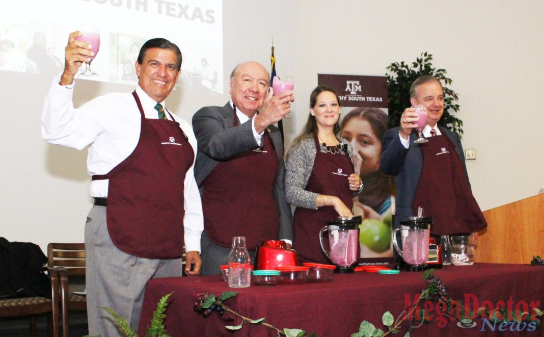"""Pictured above, from L-R: Texas Senators Eddie Lucio and Juan """"Chuy"""" Hinojosa. To extreme right John Sharp, chancellor of The Texas A&M University System. """"The key to a strong and successful future for Texas is only possible if we ensure that the next generation of Texans is healthy and well-educated,"""" said Senator Hinojosa, a McAllen native who represents District 20."""