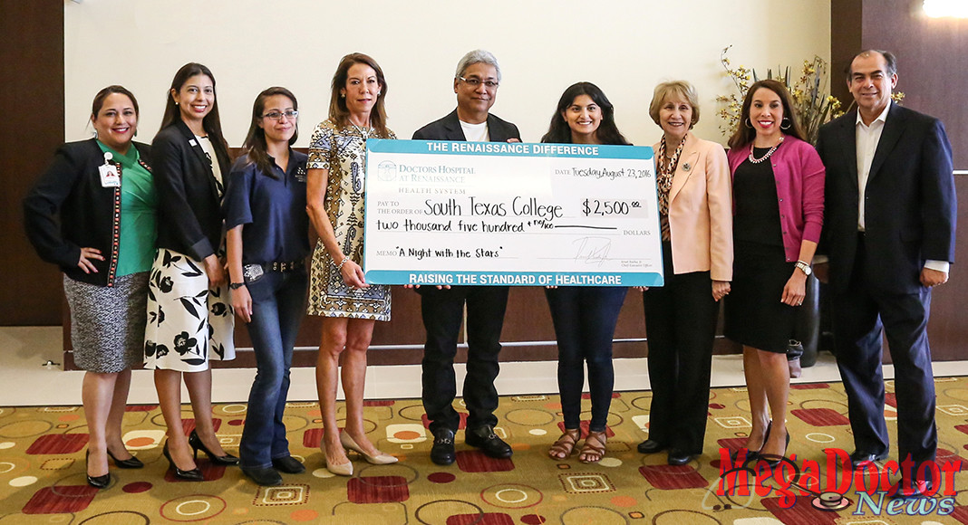Left to Right, Sofia Hernandez, DHR Government and Public Affairs; Jessica Sandoval Garcia, Coordinator of STC's Valley Scholars Program; STC Student Alondra Diaz; Susan Turley, President of Doctor's Hospital at Renaissance Health System; Dr. Javier Cortinas, ER Department Director; STC Student Stacie Solis ; Dr. Anahid Petrosian, STC Interim Vice President for Academic Affairs; Marissa Castaneda, DHR Chief Operations Officer; Mario Reyna, Dean for Business & Technology.