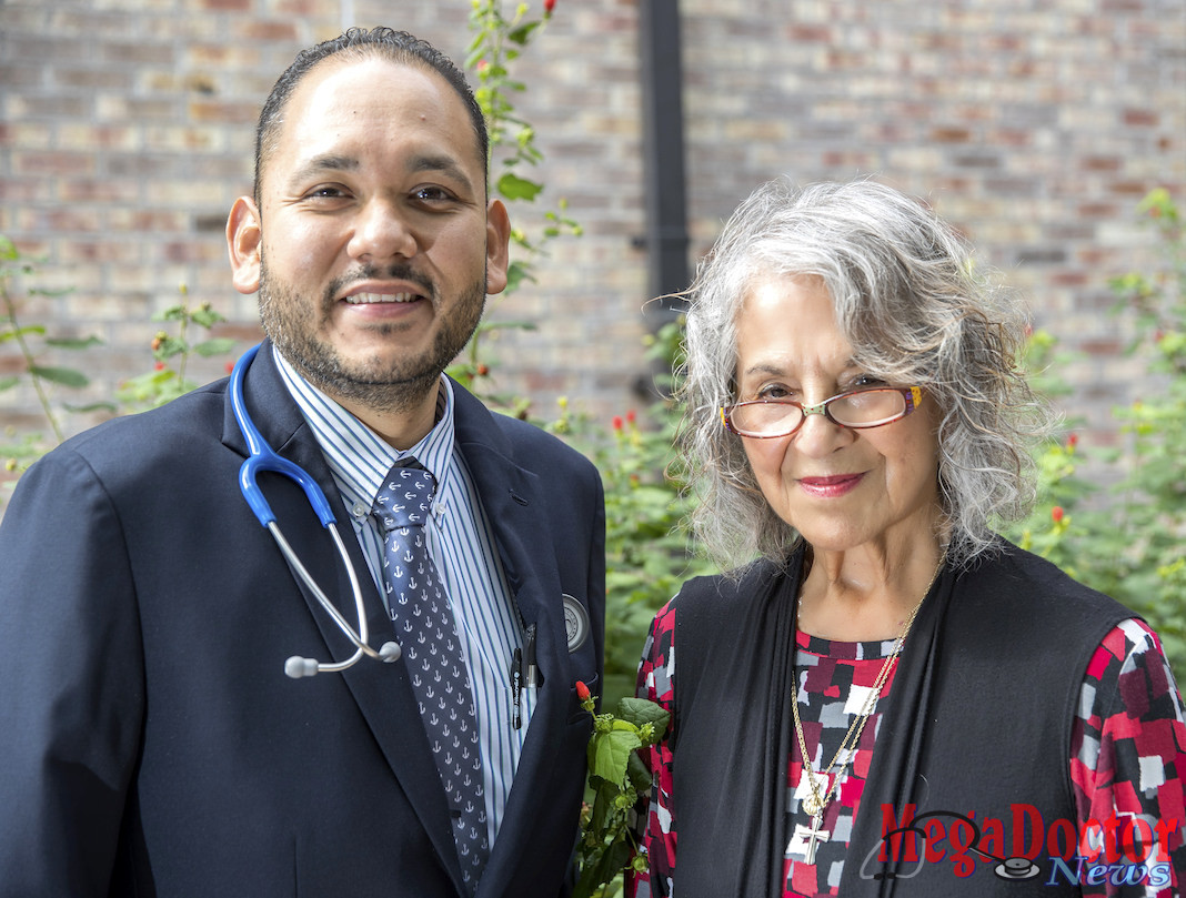 Dr. Eloisa Taméz (right), UTRGV professor of graduate nursing education and co-principal investigator along with Dr. Mary Diaz, associate professor of nursing education, started developing the Psychiatric-Mental Health Nurse Practitioner (PMHNP) program with a $142,367grant awarded by the Valley Baptist Legacy Foundation. Now, Hermes Mendoza (left) is one of eight UTRGV students to earn the university's first ever PMHNP certification. (UTRGV Photo byDavid Pike)