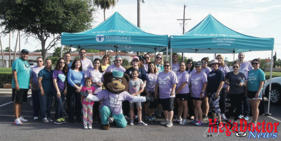 Employees and staff at Doctors Hospital at Renaissance celebrate National Cancer Survivors Day® in 2017 at a special Walk With A Doc event.