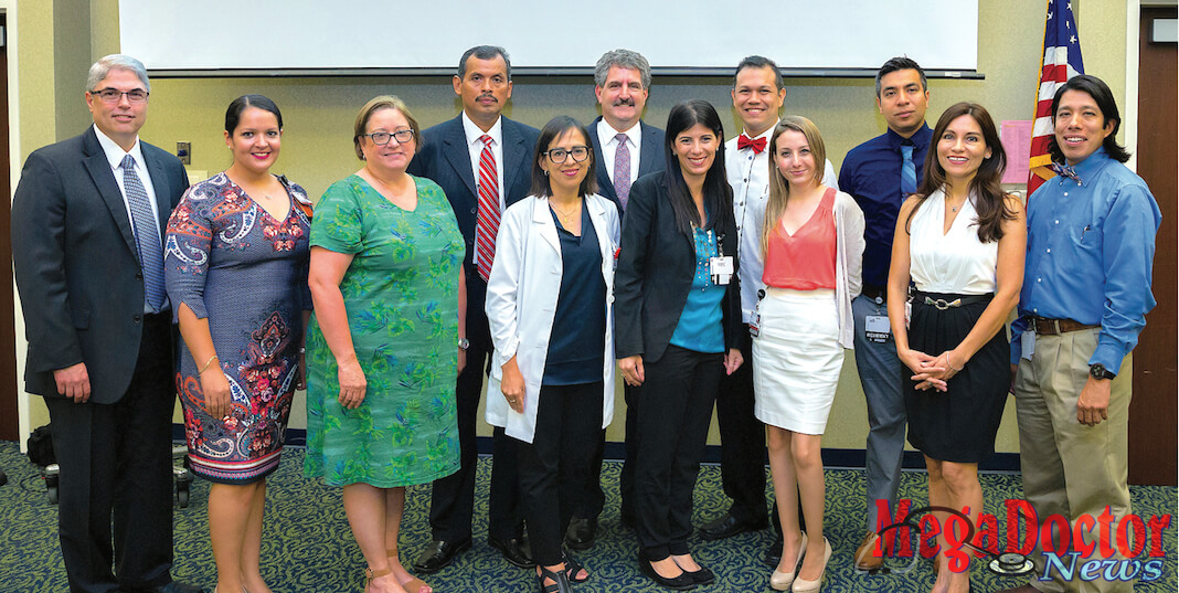 The UTRGV School of Medicine held a reception to welcome the inaugural cohort of medical residents for its Family Practice Residency Program with Knapp Medical Center. From left are Dr. Rene Lopez, CEO of Knapp Medical Center; Alexandra Smith, program coordinator for the Knapp Medical Center/UTRGV Family Practice Residency Program; Dr. Yolanda Gomez, associate dean for Graduate Medical Education, UTRGV School of Medicine; Dr. Miguel Sanchez Rivas, medical resident; Dr. Rosemary Recavarren, chief medical staff, Knapp Medical Center; Dr. Steven Lieberman, interim dean, UTRGV School of Medicine; medical residents Dr. Carolina Gomez De Ziegler, Dr. Eddy Berges, Dr. Eliana Costantino-Burgazzi, Dr. Diego Moreno Dr. Marita Sanchez Sierra Marino; and Dr. Miguel Tello, incoming chief of staff for Knapp Medical Center, associate director of the Knapp Family Practice Residency Program and associate professor in the UTRGV School of Medicine Department of Family Medicine. (UTRGV Photo by Paul Chouy)