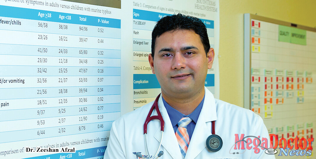 Dr. Zeeshan Afzal, a third-year medical resident in the UTRGV Family Medicine Residency Program at McAllen Medical Center, conducted a study on the prevalence of murine typhus, a flea-borne disease, in the Rio Grande Valley. The study concludes that the primary symptoms – high-grade fever, rash and body ache – often go misdiagnosed and can lead to more serious complications. He is urging primary care physicians to consider murine typhus when treating patients with acute fever. (UTRGV Photo by Paul Chouy)
