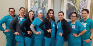 Pictured: The Women's Hospital at Renaissance receives Healthgrades Excellence Awards in three women's care areas for the third consecutive year. From left to right: Esmeralda Luna, MSN, RN; Jessica Garate, RNC-OB; Elana Carr, RNC-OB, C-EFM; Erica Garate, RN; Jessica Rios, RN; Michelle Aguilar, RNC-OB; Crystal Tamez, RN; Rita Alanis, RN.