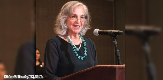 UTRGV nursing professor Eloisa G. Taméz, RN, Ph.D., FAAN, is the 2017 recipient of the Latino Legacy Award from the National Association of Hispanic Nurses. Here, she accepts the award during the 42nd annual NAHN Conference in Phoenix, Arizona. (Courtesy photo)