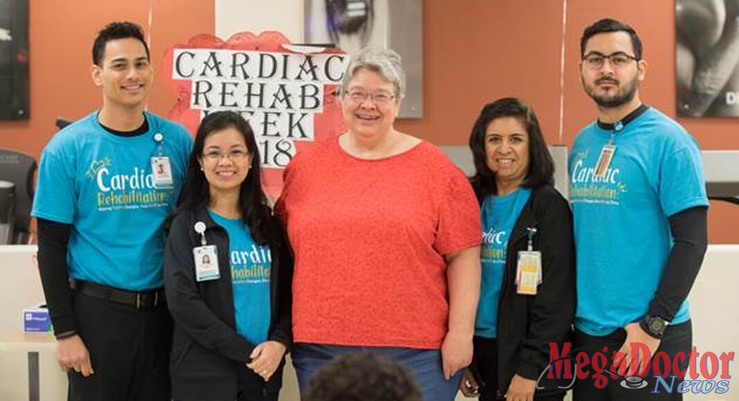 Pictured Above: [From left to right] Ivan Nayfeh, MS, ACSM-CEP, Exercise Physiologist, DHR Health Therapy Institute; Anna Liza Esguerra, RN, OTR Cardiac Rehab Nurse, DHR Health Therapy Institute; Mrs. Linda Bluem, Patient; Cynthia LiVigni, RN, Cardiac Rehab Nurse, DHR Health Therapy Institute; Nathan Castañeda, PT Technician, DHR Health Therapy Institute.