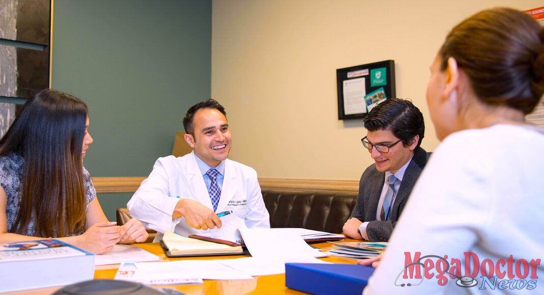 Pictured Above: Dr. Gerardo Lopez-Mena, Vice President of Medical Affairs at DHR Health, conducts meeting at DHR Health. Dr. Lopez-Mena received the Young Physician of the Year Award from the National Hispanic Medical Association.