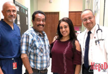 Pictured Above: Mr. Gerardo Hernandez, DHR Health's first kidney transplant recipient, and his daughter, Ms. Janett Arambula, who donated her kidney to her father, visit the DHR Health Transplant Institute for their one-year follow-up. Mr. Hernandez and Ms. Arambula are joined by Philip Thomas, MD, Transplant Surgeon (left) and Mourad Alsabbagh, MD, Transplant Nephrologist (right)