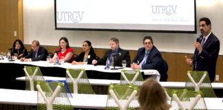 The University of Texas Rio Grande Valley has established the multi-disciplinary UTRGV Center for Vector-Borne Disease (CVBD), a collaborative effort to develop a self-sustaining, research-focused center in South Texas that will study diseases like Zika, chikungunya and dengue. On April 9, the university hosted a panel event on the Edinburg Campus to formally announce and launch the center. Founding members of the CVBD are (from left)Dr. Teresa Feria Arroyo, Dr. Tamer Oraby, Dr. Erin Schuenzel, Dr. Beatriz Tapia, Dr. John M. Thomas II and Dr. Christopher J. Vitek. Speaking is Dr. Parwinder Grewal, UTRGVexecutive vice president of Research and Graduate Studies and former dean of the UTRGV College of Sciences.(UTRGV Photo by Silver Salas)