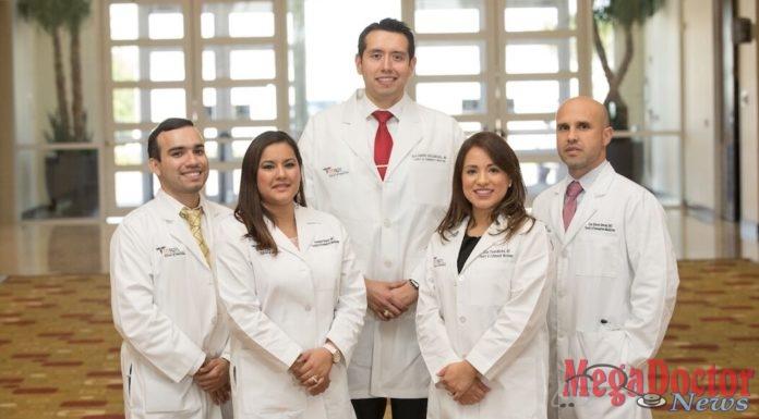 Pictured below: Graduates from the UTRGV School of Medicine and DHR Health Family Medicine residency program, (from left to right) Marco Escobedo, MD; Veronica Salazar, MD; Alejandro Bocanegra, MD; Julia Flores, MD; Cruz Bernal, MD.