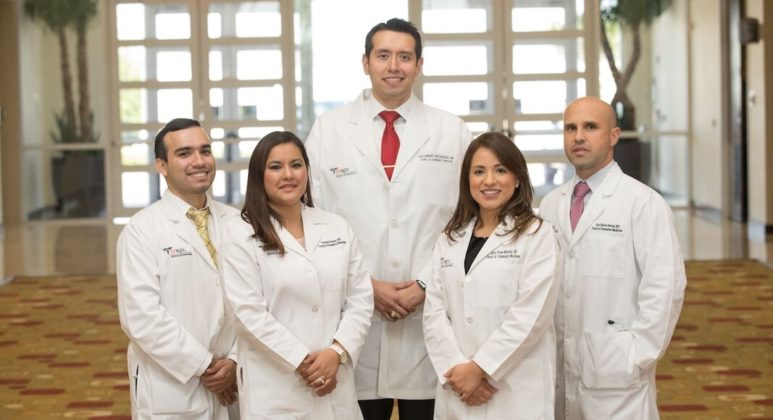 Pictured below: Graduates from the UTRGV School of Medicine and DHR Health Family Medicine residency program, (from left to right) Marco Escobedo, MD; Veronica Salazar, MD; Alejandro Bocanegra, MD; Julia Flores, MD; Cruz Bernal, MD.