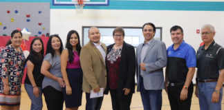 Local leaders attend press conference announcing Youth & Family Support Services at Boys & Girls Clubs. Pictured from left to right: Adriana Rendon, Vice-President of Operations, Boys & Girls Clubs of Edinburg RGV; Mary Lopez, CEO-Boys & Girls Club of Weslaco; Dalinda Gonzalez-Alcantar, CEO- Boys & Girls Club of McAllen; Alfredo Mata, Jr., CEO-Boys & Girls Club of Pharr; Fay Beard, Director of Development, Boys & Girls Clubs of America; Terry Canales, Texas State Representative; Eddie Cantu, Hidalgo County Commissioner Precinct #2, and Jesse Vela, School Board Member, PSJA ISD.