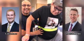 Pictured is 14-year-old rehab patient Aristeo Cantu, Jr. and STHS physical therapists