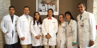 """PHYSICIAN SPEAKERS - Family practice physicians and second-year residents at the new Knapp / UTRGV Family Health Center in Mercedes have been helping educate the community about important health topics through """"Doc Talks"""" that are being held in the Mid-Valley. Pictured L-R are Dr. Diego Moreno, Dr. Eddy Bergès, Dr. Marita del Pilar Sanchez Sierra Marino, Dr. Miguel Tello (Associate Program Director), Dr. Eliana Costantino Burgazzi, Dr. Carolina Gomez de Ziegler, and Dr. Miguel A. Sanchez Rivas."""