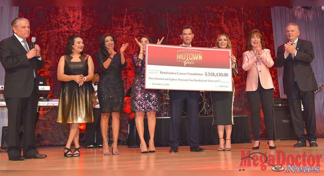 Pictured above from L-R: Larry Safir, Elizabet Jondreau, Jericka Gaskamp, Marissa Castañeda, David Deanda, Edna Desaro, Janet and Bob Vackar. The Renaissance Cancer Foundation Gala raised $318,430.00 to give to the individuals who need it most. Photo by Roberto Hugo Gonzalez.