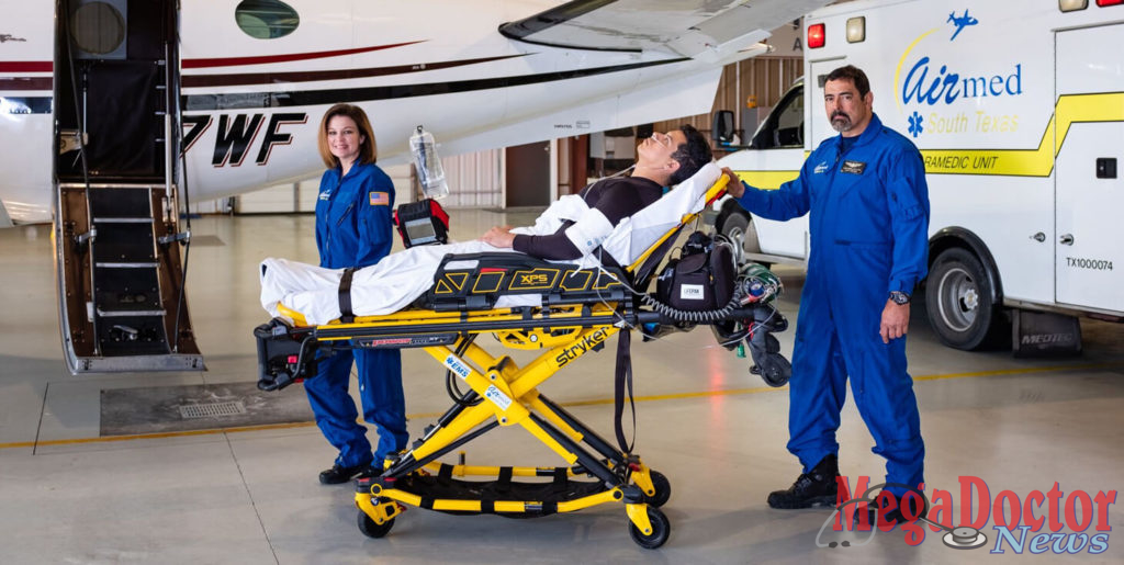 Featured: Leaders for Hidalgo County EMS/South Texas Air Med on Thursday, January 31, 2019, said they are finalizing a plan to provide helicopter air ambulance service to area hospitals, an announcement that came hours after Air Evac Lifeteam in McAllen immediately ceased operations. Hidalgo County EMS/South Texas Air Med professionals performing their duties in this image are Jessica Busby, RN, and Luis Corbiel, EMPT, FCP. Photograph by Tony Garza