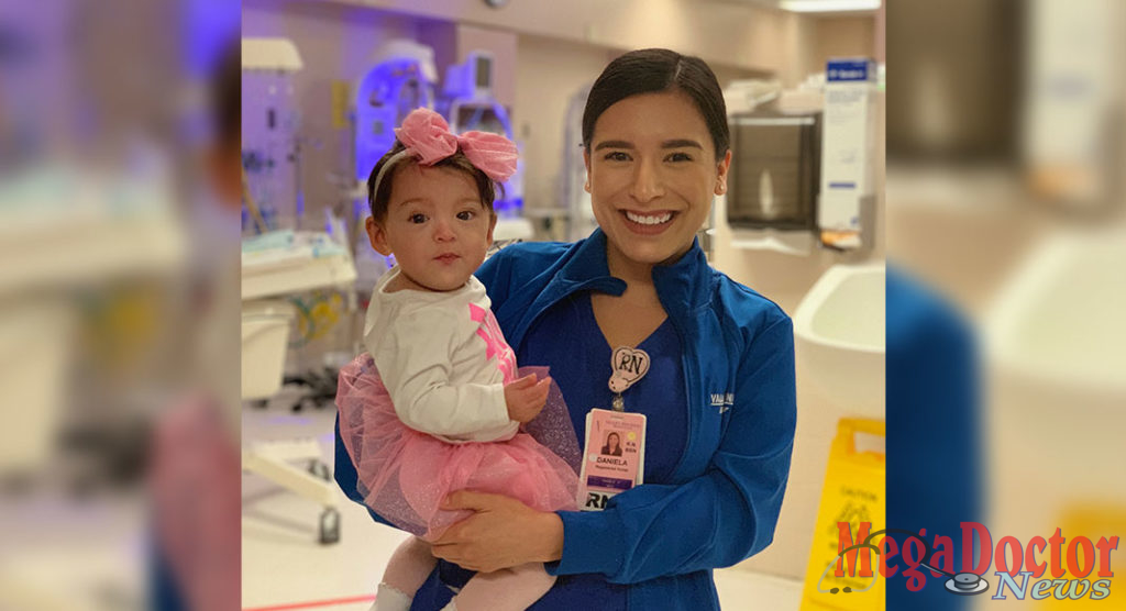 Jocelyn Castillo, born at 24 weeks at Valley Regional Medical Center, returns to the hospital's NICU where she shared her first birthday with nurse Daniela Valdez, BSN, RN.