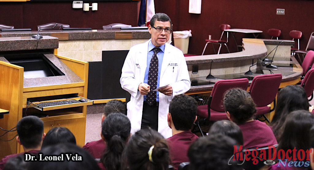 Dean Dr. Leonel Vela addressing students of the Pharr-San Juan-Alamo schools.