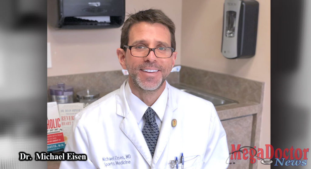 Dr. Michael Eisen is a General Family Medicine physician from Harlingen and specializes in Sports Medicine (Non-Surgical), He is holding 'Prevent and Reverse Heart Disease' book authored by Dr. Caldwell Esselstyn, Jr. Dr. Eisen understands and recognizes the value of a plant-based diet that could save many lives in the Rio Grande Valley.