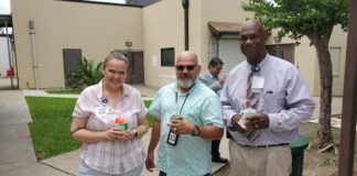 Photo caption: (Left to right) Adriana Cotal, Food Services Manager; Roy Rios, Certified Coding Specialist, Health Information Management; and Len Al Blakely, Food Services Director enjoy some snow cones and fellowship during Valley Baptist-Brownsville's Hospital Week activities on Friday, May 17.