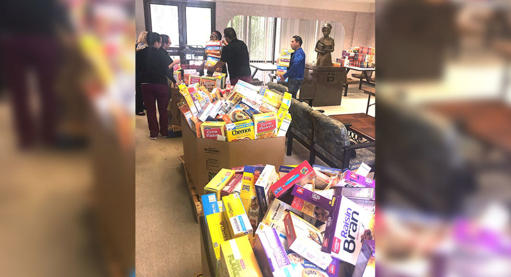 Students from Valley Baptist School of Vocational Nursing collected 1,021 boxes of cereal to benefit the Food Bank of the Rio Grande Valley during the Healthy Over Hungry Cereal Drive held from June 7 – June 14.