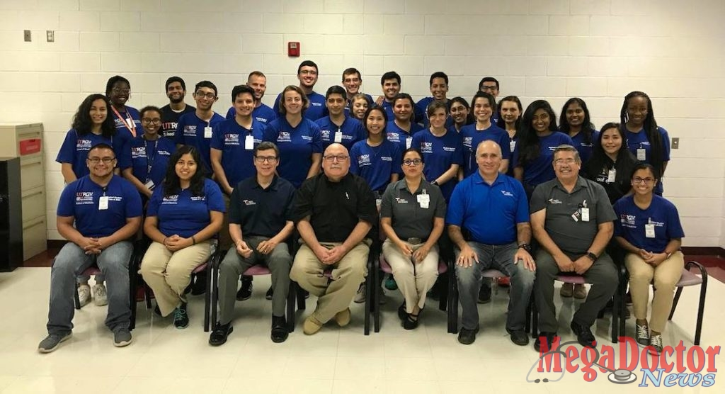Pictured above, a distinguished group of volunteers that gave their time to serve the community during the 21st Annual Operation Lone Star in the Rio Grande Valley held July 22-26, 2019. Pictured in front row Dr. Leonel Vela is the Associate Vice President for Education-Division of Health Affairs, Senior Associate Dean for Educational Resources and holds a faculty appointment of Professor with Tenure in the Department of Family Medicine at the UT Rio Grande Valley-School of Medicine. He was Founding Dean of the Regional Academic Health Center (RAHC), Eduardo Olivarez from the Hidalgo County Health & Human Services, and Rabbi Claudio Kogan, M.D., M.B.E., M.Ed., director of The University of Texas Rio Grande Valley School of Medicine's new Institute for Bioethics and Social Justice. These are a small group of volunteers, Operation Lone Star had more than 700 volunteers.