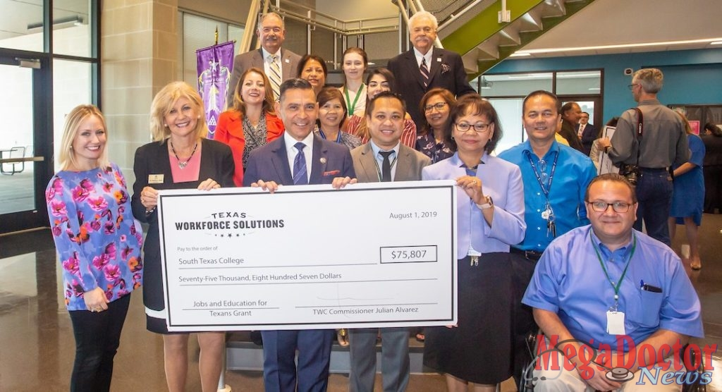 South Texas College and Texas Workforce Commission came together for a check signing August 1 benefiting students in the STC nursing program.