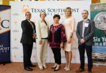 Texas Southmost College and Valley Baptist Medical Center-Brownsville expanded their longtime partnership to include the Certified Nursing Assistant program during a Signing Ceremony Aug. 28, 2019 at the TSC Performing Arts Center in Brownsville. From left, TSC President Jesús Roberto Rodríguez, TSC Vice President of Instruction Joanna Kile, TSC Board of Trustees Chairwoman Adela G. Garza, VBMC-Brownsville Chief Executive Officer Leslie Bingham and VBMC-Brownsville Director of Strategy Brandon Mohler.