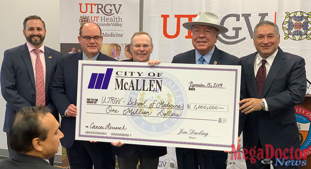 "Pictured from L-R: McAllen City Commissioner Victor Haddad; Dr. John H. Krouse, UTRGV, EVP Health Affairs and Dean of the School of Medicine; McAllen Mayor Jim Darling; Sen. Juan ""Chuy"" Hinojosa and McAllen City Commissioner Javier Villalobos. Photo by Roberto Hugo Gonzalez"