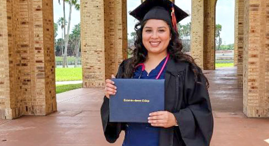 Natalia Pereiea earned an associate degree in Respiratory Care Science in spring 2021in honor of her late grandfather. Image courtesy of TSC.